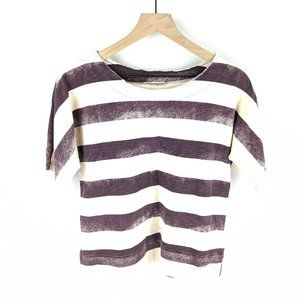 Madewell Purple Cream Cloudstripe Tee Size Small